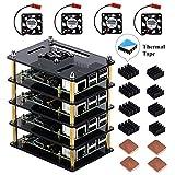 Für Raspberry Pi 3 B + Case mit Kühlventilator und Kühlkörper, 4 Schichten Acryl Case stapelbar Case Cluster Case für Raspberry Pi 3/2 Modell B