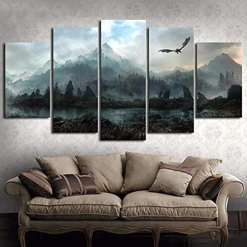 Segeltuch Wandkunst Bilder Wohnkultur 5 Stücke Game of Thrones Drache Skyrim Gemälde Zum Wohnzimmer Modular Druckt Poster,A,30 * 50 * 2+30 * 70 * 2+30 * 80 * 1 -