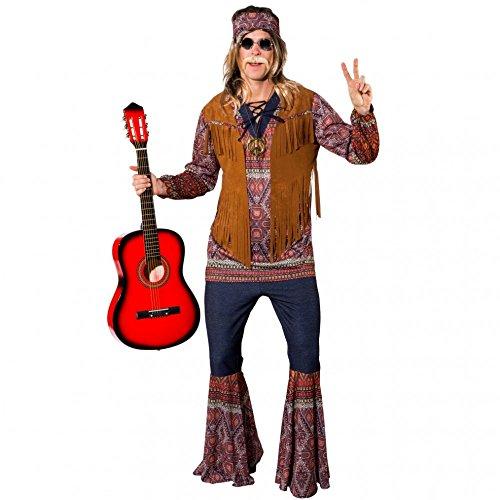 Für Woody Erwachsene Kostüm - Herren Hippie Kostüm Woody Gr. 58/60 Hemd Weste Schlaghose Coachella 70er Jahre