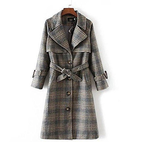 YUYU Le donne inverno addensare lungo di lana del cappotto di trincea del rivestimento tuta sportiva di svago Il manicotto lungo , l , picture