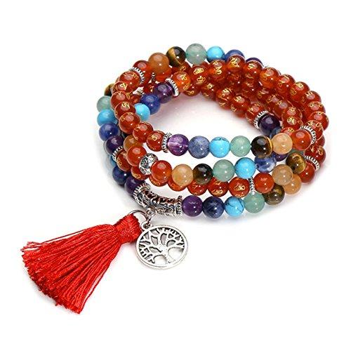 QGEM 108 Perlen Edelstein Yoga Om Mani Padme Hum Buddha Armband Wickelarmabnd Chakra Tibetische Gebetskette Healing Reiki Mala Kette Halskette mit lebensbaum Anhänger (Karneol)