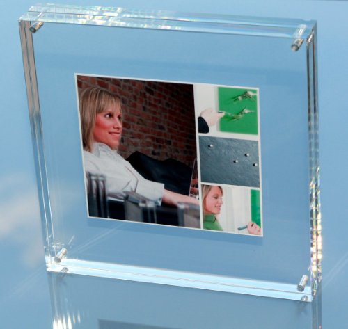 FLUX-Frame: Design-Acryl-Bilderrahmen, 18 x 18 x 3 cm, Fotorahmen, Fotohalter, Acrylrahmen, Acrylglas-Tombstone -