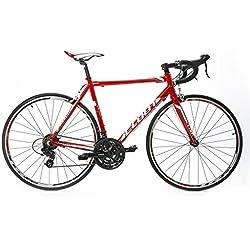 Bicicleta de carretera Cloot Elektra Race, Road bike 700x23c Cambio Shimano 21 Velocidades Cuadro de Aluminio Ligero 6061, Rojo, Talla S (158 - 168)