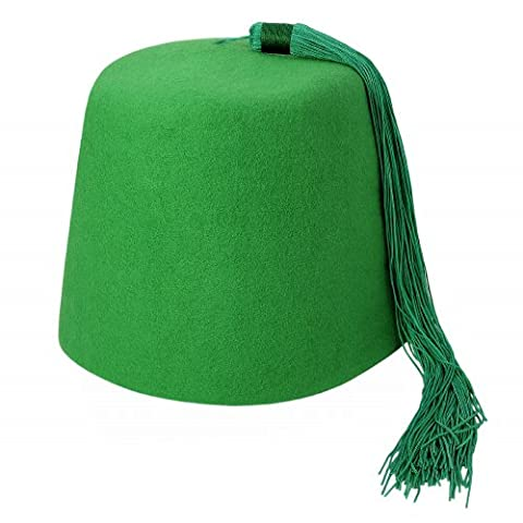 Chapeau Fez vert avec Houppe Verte VILLAGE HATS - X-Large