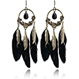 Butterme Fashion Bohemian Vintage Black Gemstone Square Bronze Leaf Feather Pendant Dangle Stud Long Earrings for Women