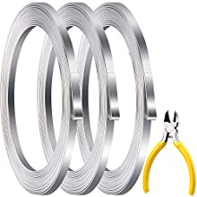 49.2 Feet Aluminum Flat Wire, 5 x 1 mm Silver Wide Aluminum Wire Bendable Metal Wire with Mini Cutting Pliers for DIY Jewelry Craft Making Beading, 16.4 Feet x 3 Rolls