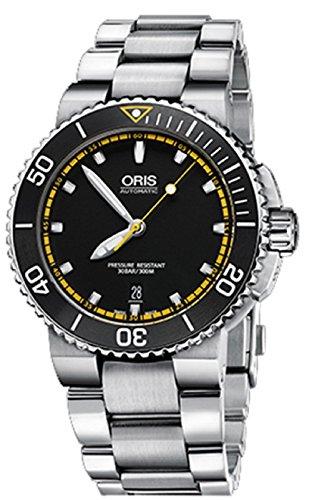 Oris Herren 42mm Stahl Armband und Fall Automatische schwarz Zifferblatt Armbanduhr 73376534127MB