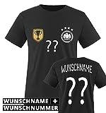 TRIKOT - DELUXE 2016 - DE - WUNSCHDRUCK - Kinder T-Shirt - Schwarz / Weiss-Gold Gr. 134-146