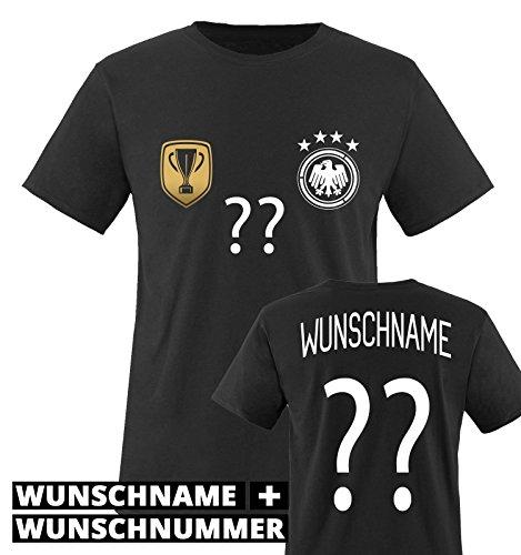 TRIKOT - DELUXE 2016 - DE - WUNSCHDRUCK - Kinder T-Shirt - Schwarz / Weiss-Gold Gr. 122-128 (Shirt Fußball-jungen)