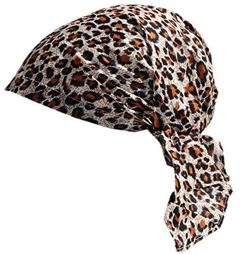 Cool4 Sommer Kopftuch Strand Bandana Meer Beanie Sonne Sonnenschutz Mütze Chemo Cap A04 (Beige-Braun im Leopard Muster)