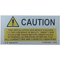Avvertenza di sicurezza vinile cautela Etichette bs7671per utilizzo su macchine e attrezzature elettrici, dimensioni 100x 25mm–Confezione da x 25etichette - Hat Pins Eye