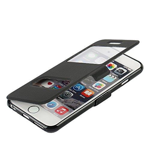 MTRONX für Apple iPhone 6s Hülle, iPhone 6 Hülle, Dual Fenster-Ansicht Magnetisch Ständer Schutzhülle Tasche Etui Klapphülle PU Leder Weich TPU Folio Flip Case Cover - Schwarz(MS2-BK) (Iphone 6 Wallet Schieben)