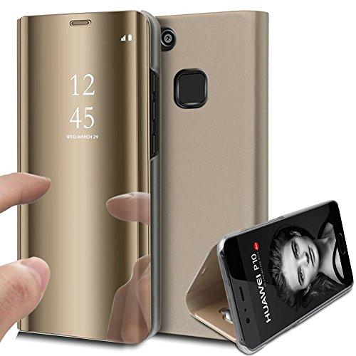 KunyFond Überzug Spiegel Hülle für Huawei P10 Lite PU Leder Tache Brieftasche Schutzhülle Durchsichtig Clear View Handyhülle Ledertasche Flip Wallet Cover Standfunktion Schale Case (Gold)