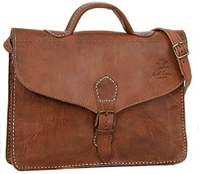 """Gusti Cuir nature """"Jake"""" cartable en cuir sac notebook sac bandoulière sac porté épaule sacoche business homme femme cuir de chèvre marron U12"""