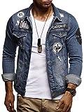 LEIF NELSON Herren Jeans-Jacke mit Knopf | Freizeitjacke Slim Fit Kleidung Männer LN9540; Größe S, Blau