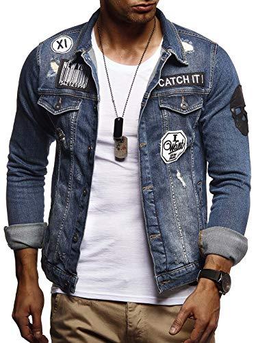 Slim Fit Herren-pullover (LEIF NELSON Herren Jeans-Jacke mit Knopf | Casual Freizeitjacke Slim Fit | Männer-Übergangsjacke Stretch Langarm | Das Beste in Kleidung Männer LN9540; Größe S, Blau)