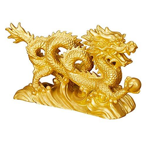 Muzuri Figura de dragón chino Feng Shui, símbolo de la suerte y éxito + pulsera ajustable de la suerte hecha a mano con cuerda roja