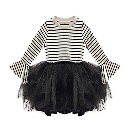 Babyschuhe ❀❀❀JYJM ❀❀Kleinkind Kinder Baby Mädchen Gestreifte Gaze Prinzessin Kleid Langarm Babykleid (Größe: 2 Jahre, (Kind Haut Schwarze Anzug Kostüme)