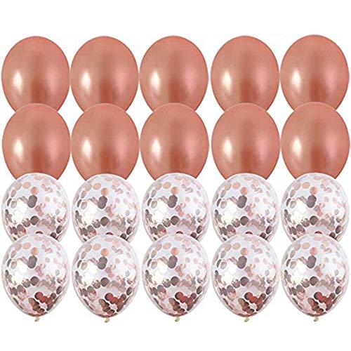 Kimmyer 20 Pack Rose Gold Ballons & Rose Gold Konfetti Ballons -18 Zoll- Eine Pumpe ist im Paket enthalten - für Hochzeit oder Geburtstagsfeiern