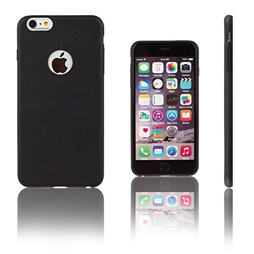 Xcessor Transition Farbe Flexible TPU Case Schutzhülle für Apple iPhone 6 Plus. Mit Gradient Silk Gewinde Textur. Transparent / Hellblau Schwarz / Linien