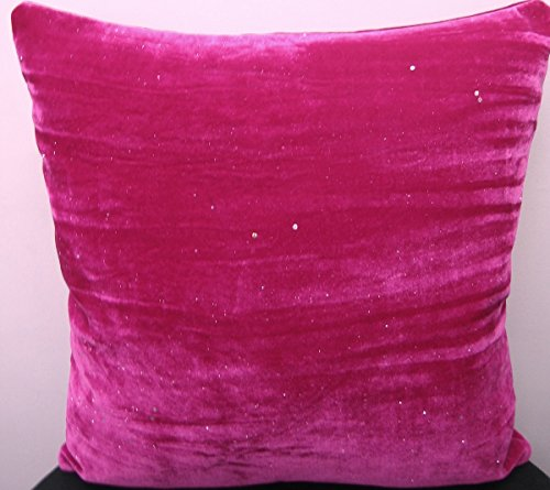 Panache Home Electra Faux Velvet Cushion Cover, Cerise, 43 x 43 Cm