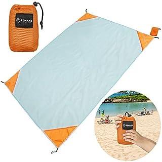 ZOMAKE XL Outdoor Stranddecke und Picknickdecke, Ultraleichte Zusammenfaltbar Campingdecke(190X145CM)(Blau und Orange)