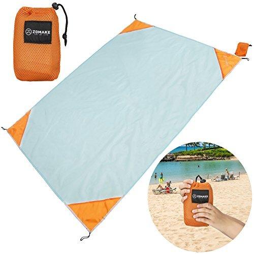 (ZOMAKE XL Outdoor Stranddecke und Picknickdecke, Ultraleichte Zusammenfaltbar Campingdecke(190X145CM)(Blau und Orange))