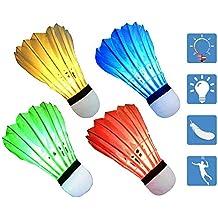 LED Badminton, Paquete de 4 Volante Brillan en la Oscuridad, Duradero y Estable de Alta Velocidad del chirrido de iluminación al Aire Libre para Juegos de Interior