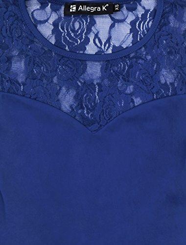 Allegra K Femme Col Rond panneaux-de dentelle Sans manche Haut Péplum blue