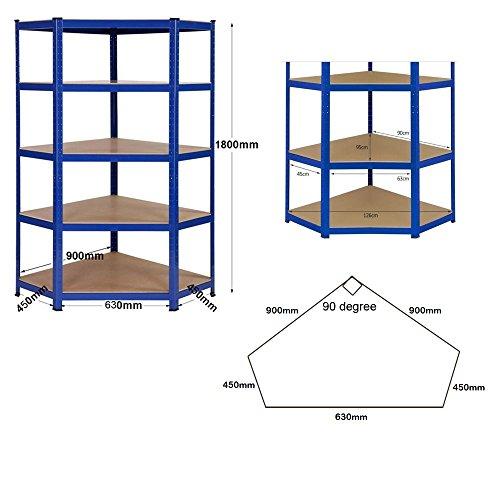 Heavy Duty Garage Corner shelving kit, 1 Corner unit 1800mm x 900mm x 450mm & 2 Shelving units 1800mm H x 900mm W x 450mm D Massive Storage Capacity of 4125KG + FREE NEXT DAY DELIVERY
