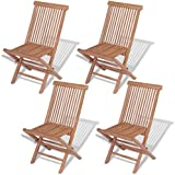 Festnight Wooden Outdoor Outdoor Dining Chairs Folding Chairs Set of 4