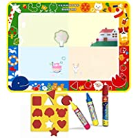 Magic Water Doodle Mat(100x73CM)con 3 plumas,Niños Pintura al agua Doodle Scribble Boards Tool-Animal