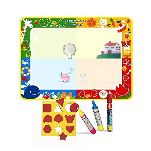 Grand Doodle tapis(100*73CM) avec 3 stylos,Des gamins Eau tableau Doodle Scribble Boards Tool(Animal)
