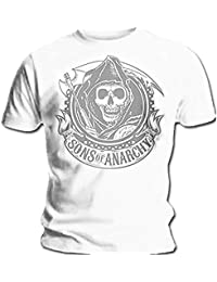 Official T Shirt SONS OF ANARCHY Distressed WHITE REAPER Vintage S