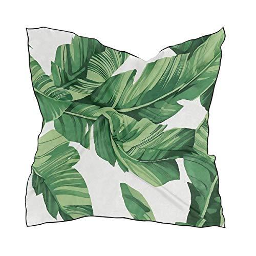 Tropical Banana Palm Leaves Square Hals Schal Satin Seide Gefühl Kopf Haar Wraps Twill Satin Polyester Haar Schal Stirnband 23,6