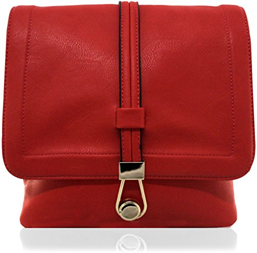 KUKUBIRD HOOK DESIGN TRAVEL TOTE MESSENGER-Leder-Designer-Tasche RED