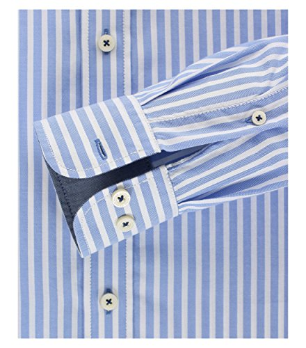 Michaelax-Fashion-Trade - Chemise business - À Rayures - Col Boutonné - Manches Longues - Homme Blau (100)