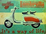 Lambretta - Way of Life- Innocnti, white and red. Scooter Moped. For house, home, garage or pub or cafe. Medium Metal/Steel Wall Sign