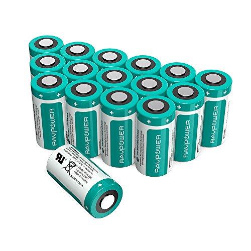 CR123A-Batterie-al-Litio-3V-RAVPower-1500mAh-lUna-Pacco-da-16-10-Anni-di-Conservazione-per-Arlo-Videocamera-Flashlight-Photo-Fotocamera-Digitale-Torcia-Giocattoli-Microfoni-etc