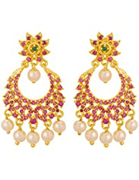 Voylla Pink CZ Studded Drop Earrings With Gold Plated