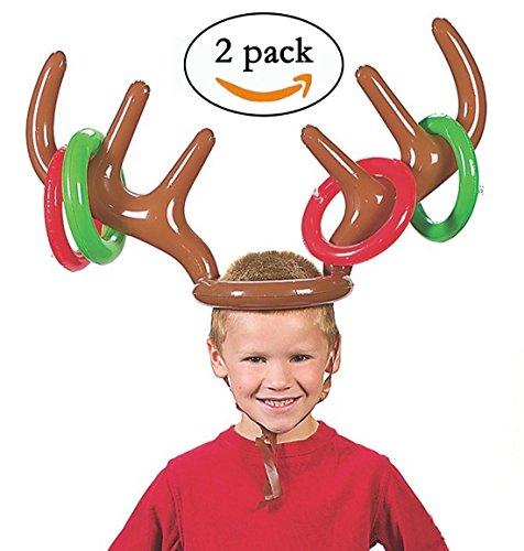 Gusspower Aufblasbare Rentier Geweih Hut, Zwei-Spieler Urlaub Ringwurf Spiel Spielzeug für Weihnachtsfeier Geschenk, Spielregeln enthalten, 2 Geweih, 8 Ringe (Halloween-kinder Spaß, Spiele Einfache)