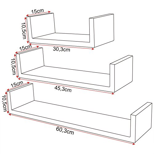 Woltu 352 3 set floating wall shelf floating shelves storage lounge woltu 352 3 set floating wall shelf ccuart Image collections