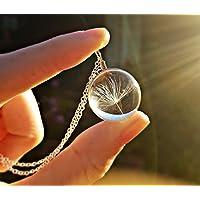Cadena de plata esterlina Diente de león collar colgante con CAJA DE REGALO - collar nupcial Terrario joyería joyería de dama de honor regalo de cumpleaños