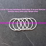 Lealoo® Set di 5Cerchi metallici, colore: Bianco, diametro 5 cm per paralume, anello epossidico, acchiappa-sogni