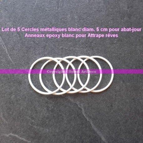 Lot de 5 Cercles métalliques blanc diam. 5 cm pour abat-jour, Anneau epoxy Attrape rêves