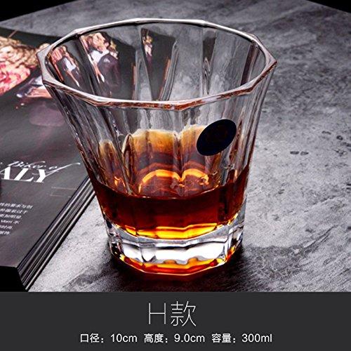 ZBZQ-Bleifreies Kristallglas, Whisky Schale, ausländischen Wein Schale, Glas, Milch, Wasser, Tasse, Tasse Tee, Bier Schale, rechteckig Schale, H Whiskey (Glas Milch Kostüme)