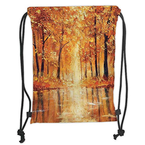 Custom Printed Drawstring Backpacks Bags,Country Decor,Painting of a Forest  by The Small Lake in Autumn Pale Fall Trees And Leaves MOD Art,Orange