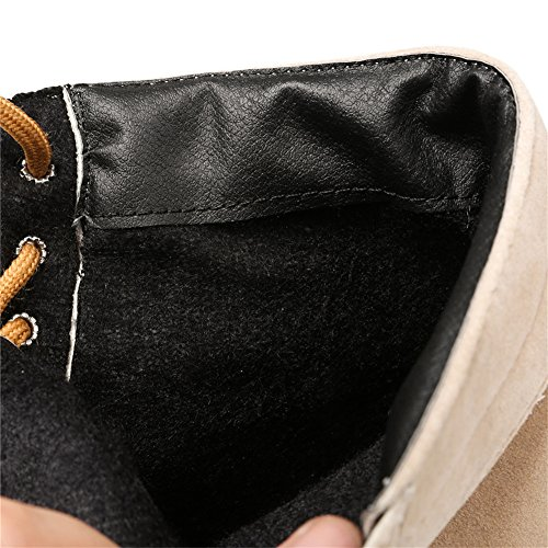 Odetina Damen Beiläufig Synthetik Wildleder Flach Schnürsenkel Stiefeletten Schuhe Plateau Aprikose