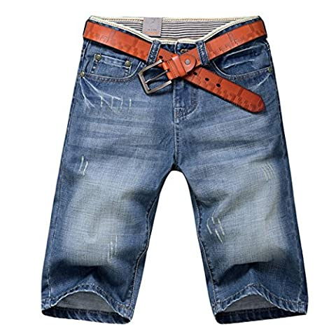 Mens Cool Summer Skinny Shorts Jeans Shorts Knee Length Teens Washed Demin Jeans Half Pants