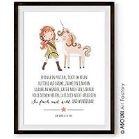 """ABOUKI Kinder Poster Plakat Kinderzimmer Kunstdruck Bild - ungerahmt - mit Mädchen und Einhorn Motiv """"Frech und wild"""", personalisierte Geschenkidee mit Wunschnamen und Datum"""